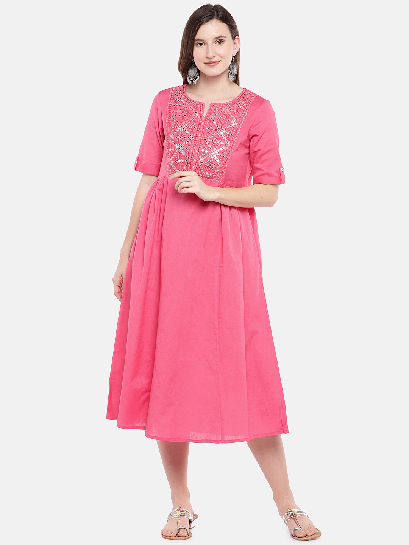 Ethnicity   Ethnicity Coral Cotton Flax Women Dress