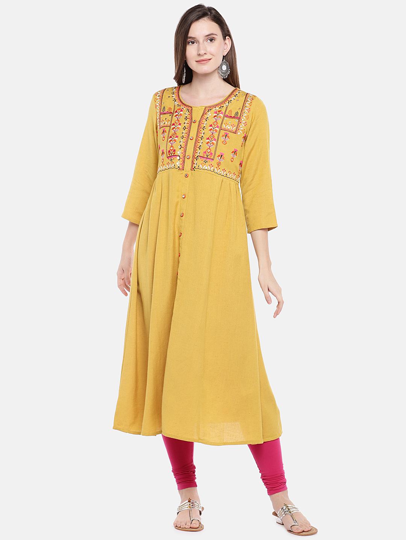 Ethnicity | Ethnicity Mustard Rayon Flax Women Kurta