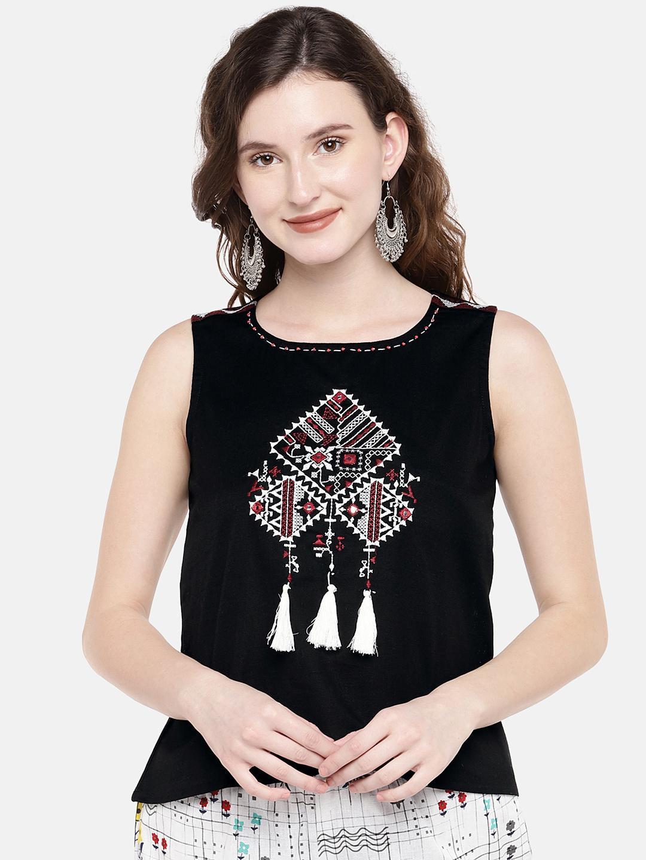 Ethnicity | Ethnicity Black Cotton Flax Women Top