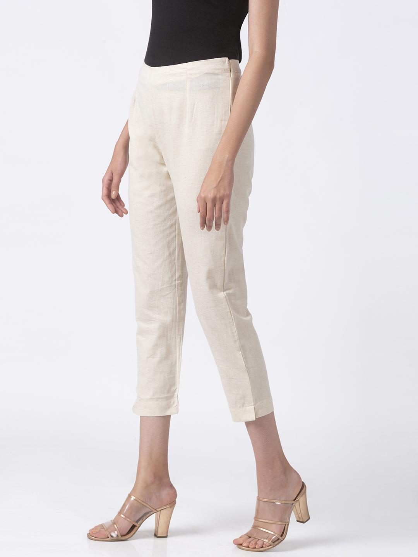 Ethnicity | Ethnicity Off White Cotton Flax Women Pants