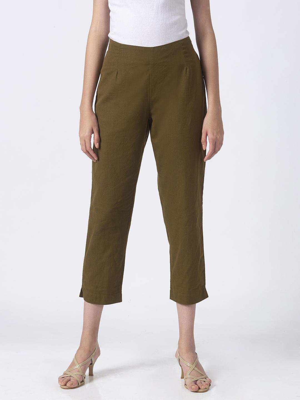 Ethnicity | Ethnicity Olive Cotton Flex Women Pants