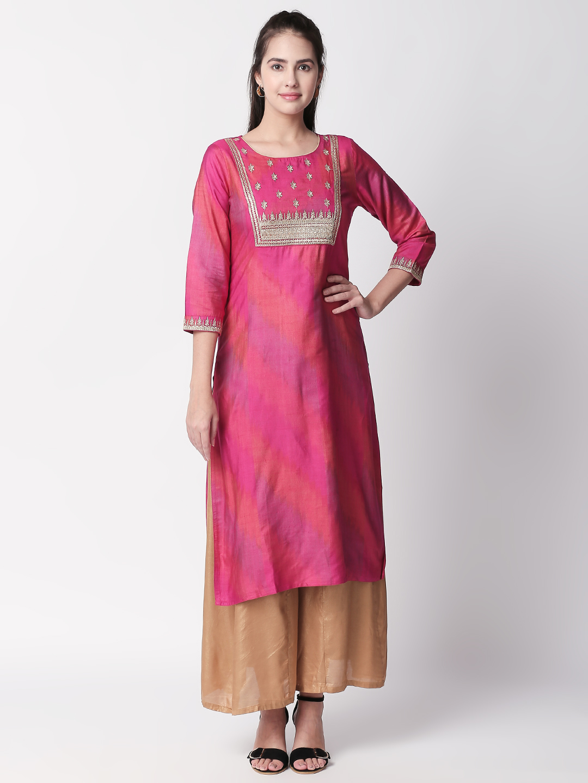 Ethnicity | Ethnicity Pink Silk Ikat Women Kurta