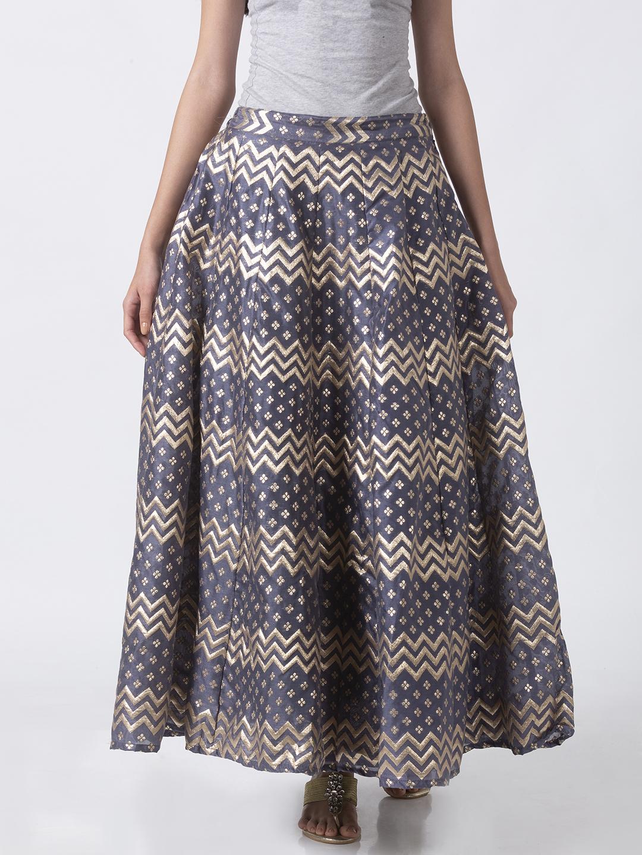 Ethnicity | Ethnicity Grey Linen Jacquard Women Skirt