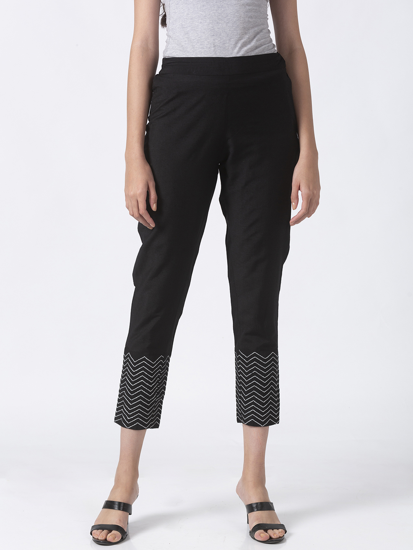 Ethnicity | Ethnicity Black Silk Blend Women Pants