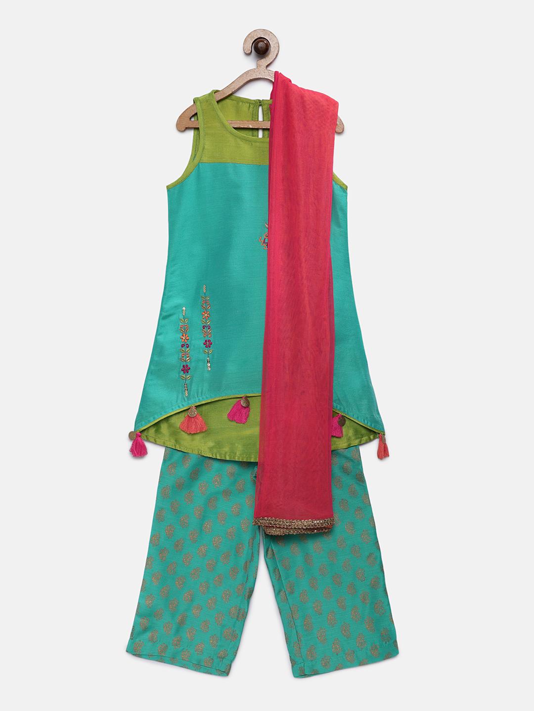 Ethnicity | Ethnicity Green Polyester Blend Kurta Set