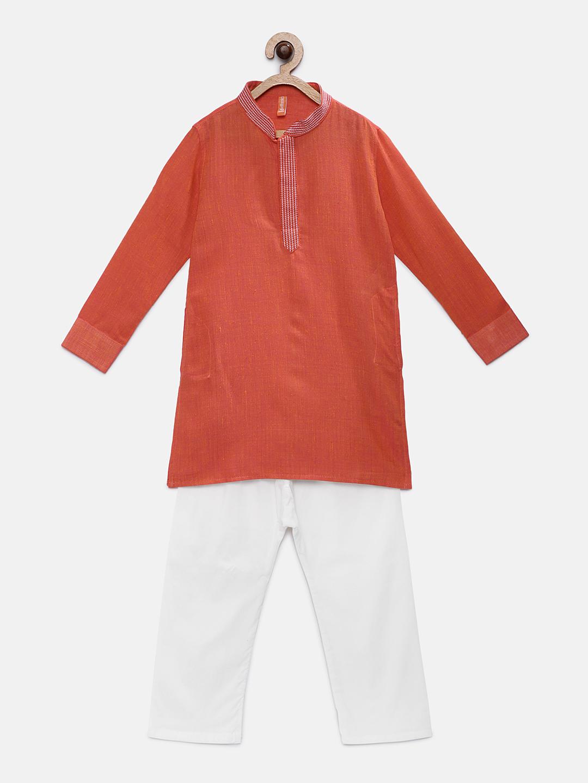 Ethnicity | Ethnicity Orange Cotton Kids Boys Kp Set