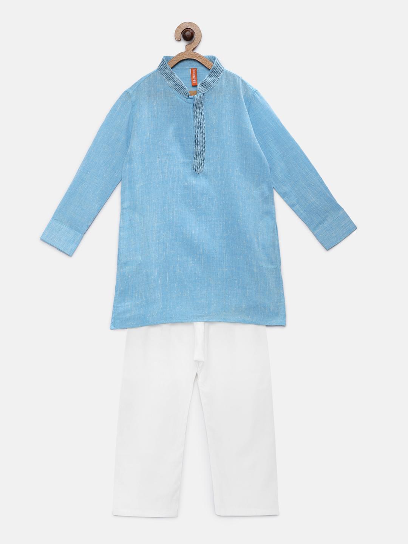 Ethnicity | Ethnicity Sky Blue Cotton Kurta & Pant Set