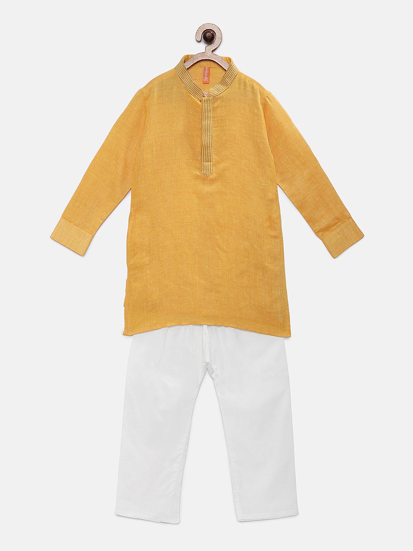 Ethnicity | Ethnicity Yellow Cotton Kurta & Pant Set