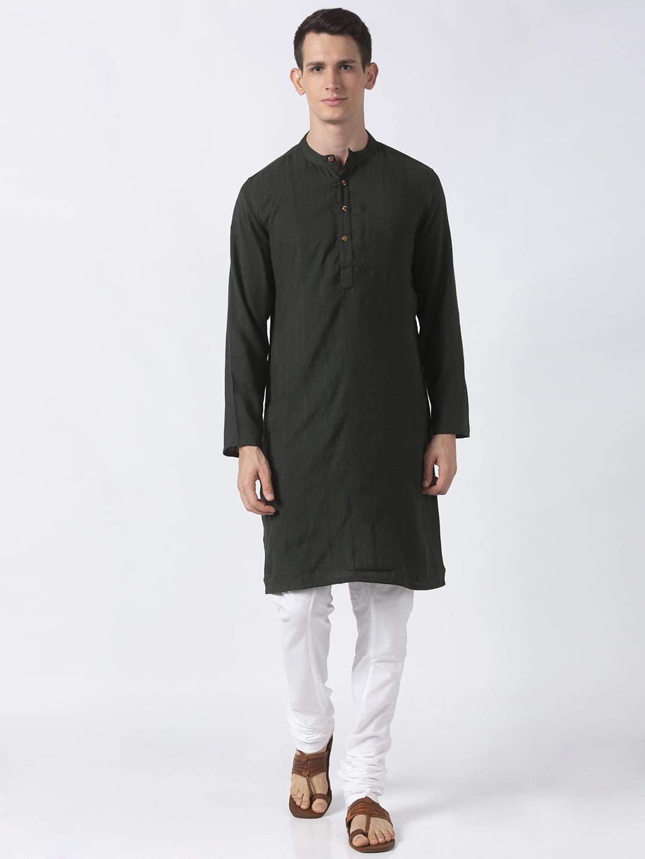 Ethnicity | Ethnicity Green Polyester Blend Men Kurta