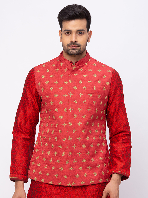 Ethnicity | Ethnicity Men Occasion Polyester Blend Full Sleeve Maroon Kp Set