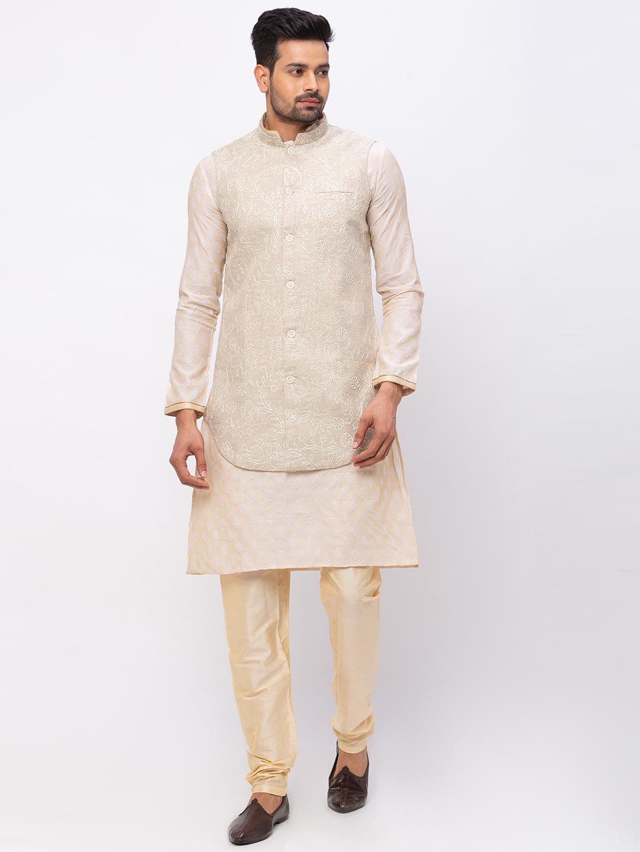 Ethnicity   Ethnicity Linen Straight Sleeveless Men Beige Jackets