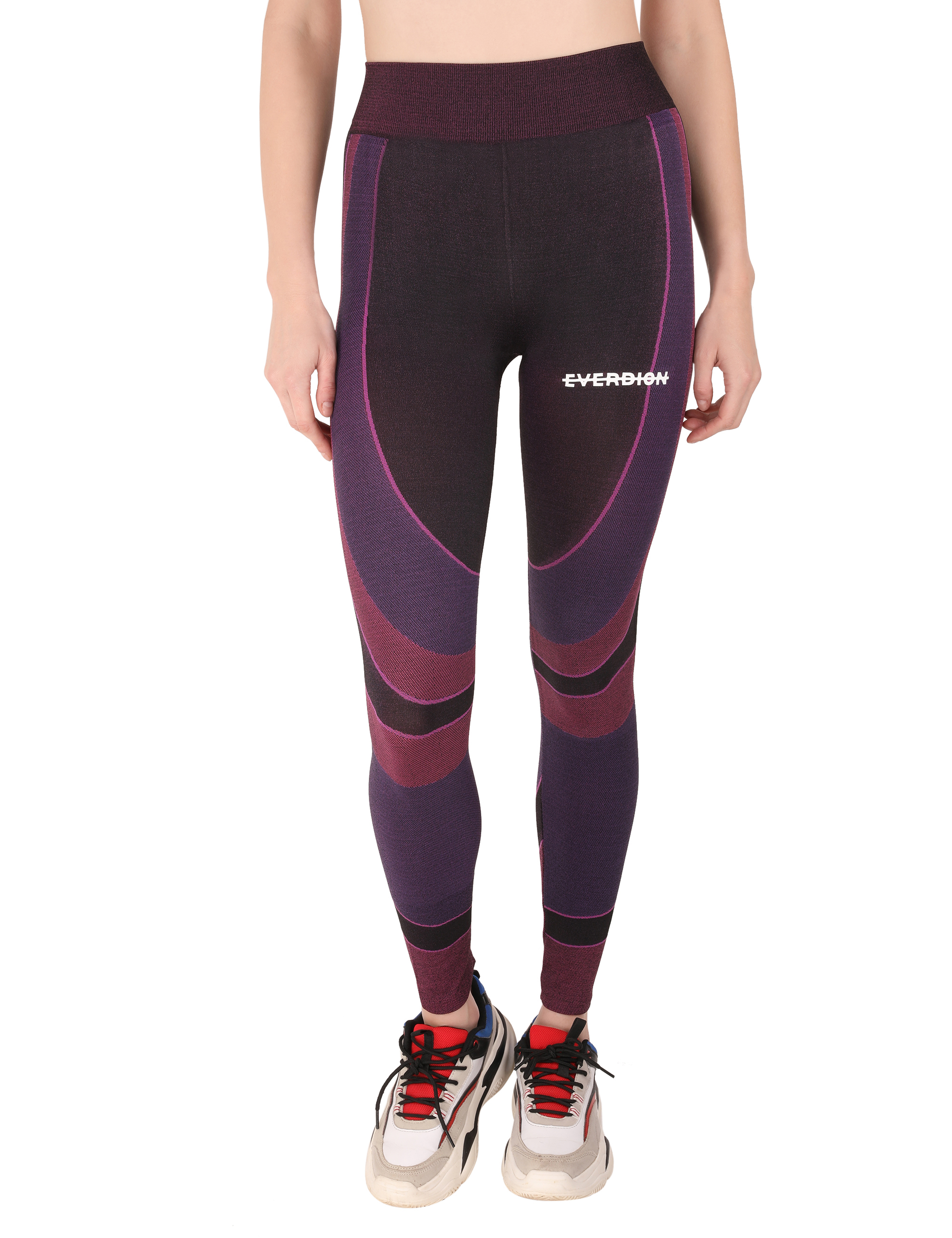 EVERDION | Purple Color Block Sports Leggings