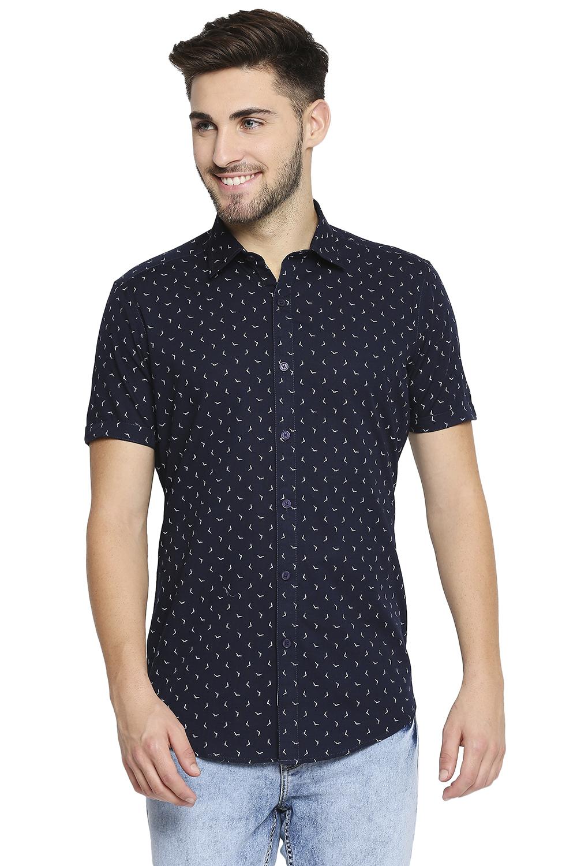 EVOQ | EVOQ Half Sleeves Cotton Blue Printed Semi-Casual Shirt for Men