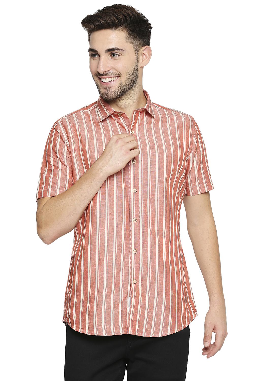 EVOQ | EVOQ Half Sleeves Cotton Rust Stripped Semi-Casual Shirt for Men