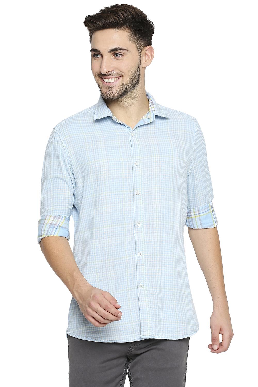 EVOQ | EVOQ Full Sleeves Cotton Reversible Gingham Checks Semi-Casual Shirt for Men