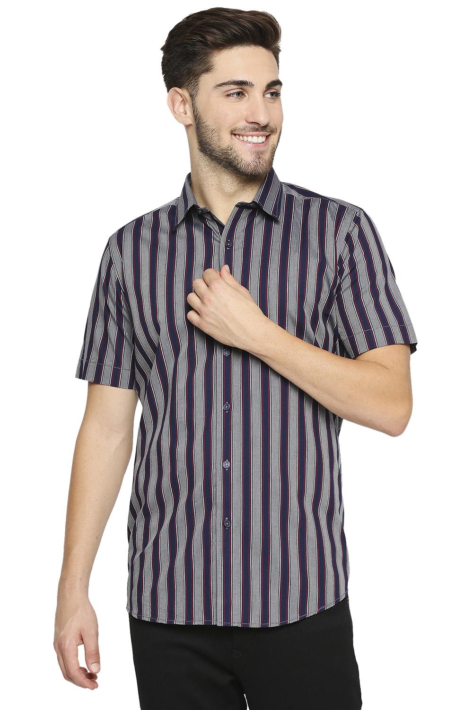 EVOQ | EVOQ Half Sleeves Cotton Purple-Grey Stripped Semi-Casual Shirt for Men