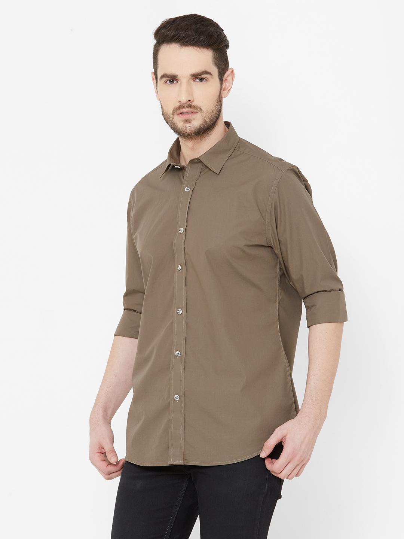 EVOQ | EVOQ Brown Full Sleeves Cotton Shirt for Men