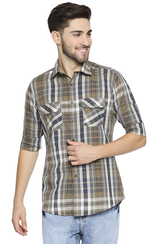 EVOQ | EVOQ Full Sleeves Cotton Brown Checks Semi-Casual Shirt for Men