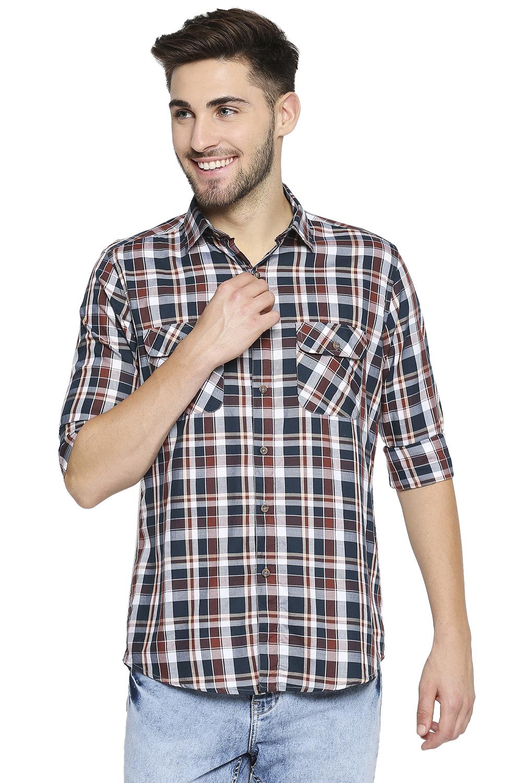 EVOQ | EVOQ Full Sleeves Cotton Multicoloured Checks Semi-Casual Shirt for Men