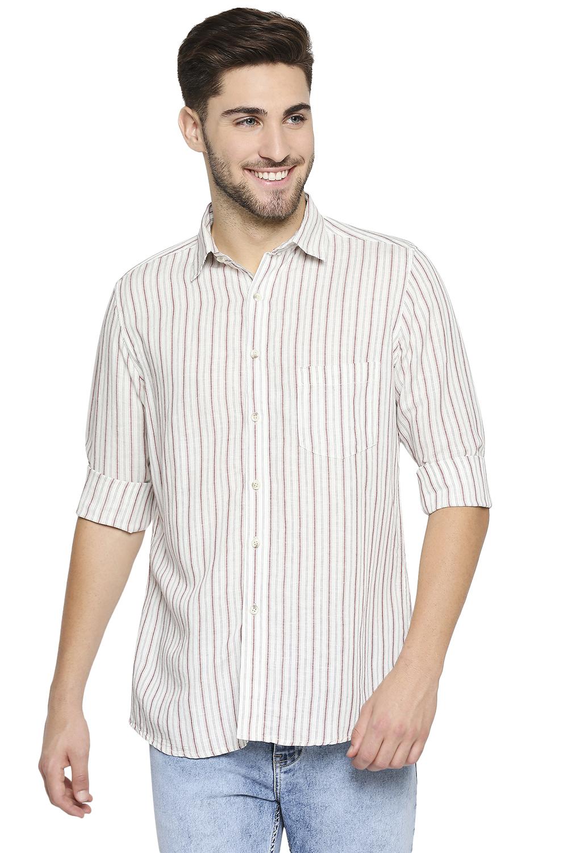 EVOQ | EVOQ Full Sleeves Cotton White Striped Semi-Casual Shirt for Men