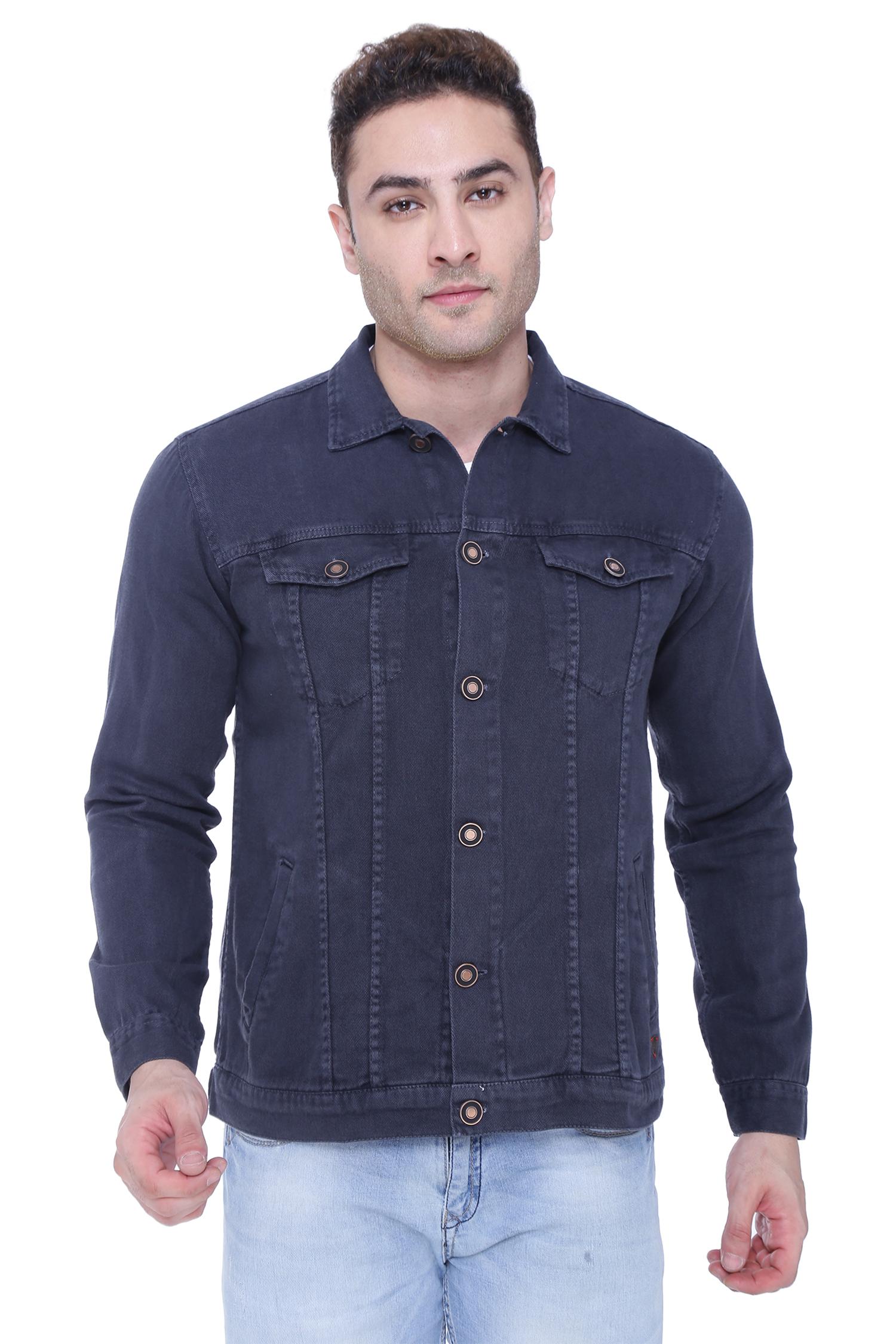 Kuons Avenue | Kuons Avenue Men's Dark Grey Denim Jacket- KACLFS1362GY