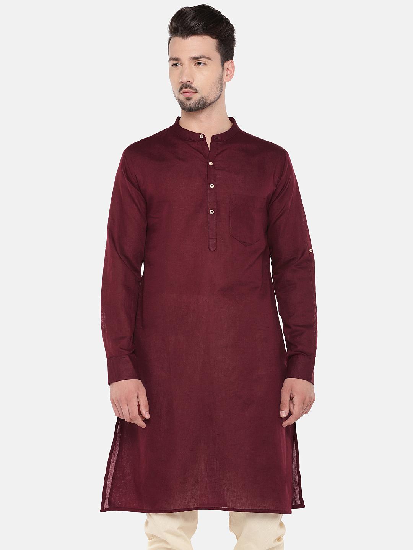 Ethnicity | Ethnicity Maroon Cotton Linen Men Kurta