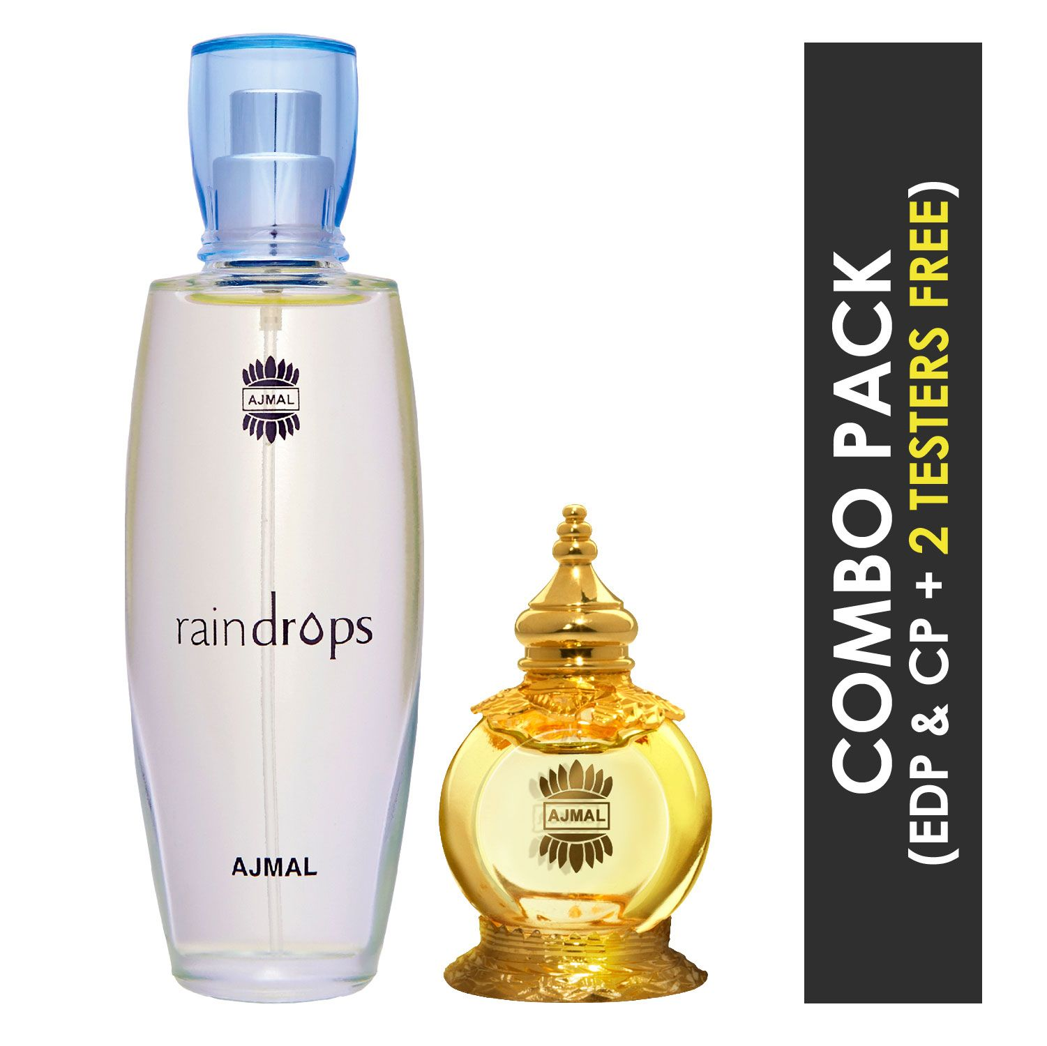 Ajmal | Ajmal Raindrops EDP Floral Chypre Perfume 50ml for Women and Mukhallat AL Wafa Concentrated Perfume Oil Oriental Musky Alcohol-free Attar 12ml for Unisex + 2 Parfum Testers FREE
