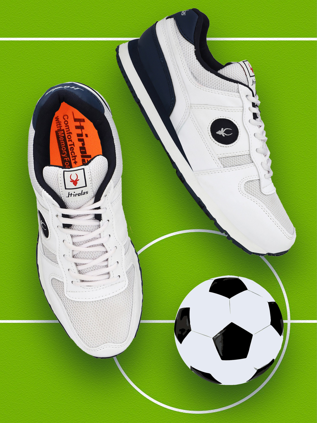 Hirolas | Hirolas Multi Sport Shock Absorbing Walking  Running Fitness Athletic Training Gym Fashion Sneaker Shoes - White/Blue
