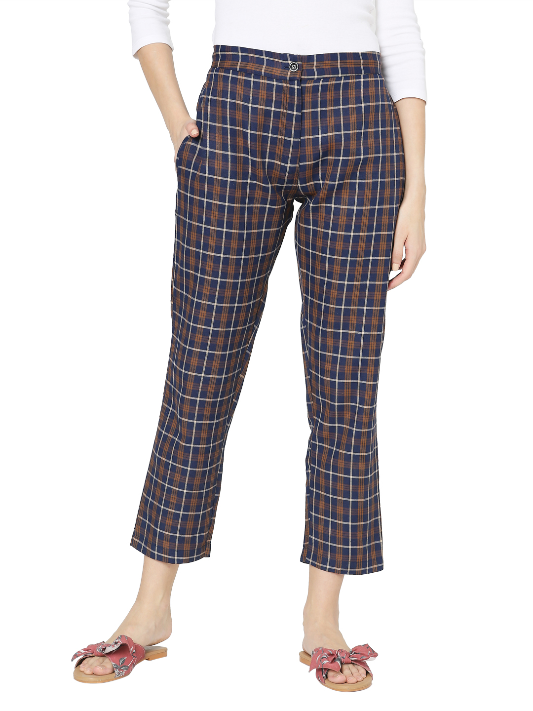 Smarty Pants   Smarty pants women's cotton brown & blue checkered ankle length tapered fit trouser