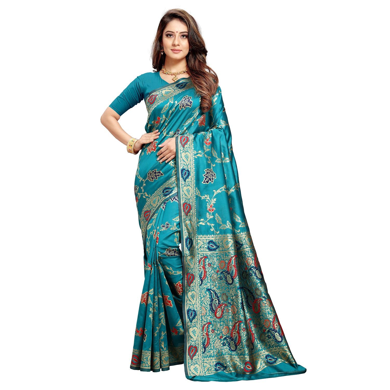 Poonam Textile Woven Banarasi Art Silk Saree (TURQUOISE)