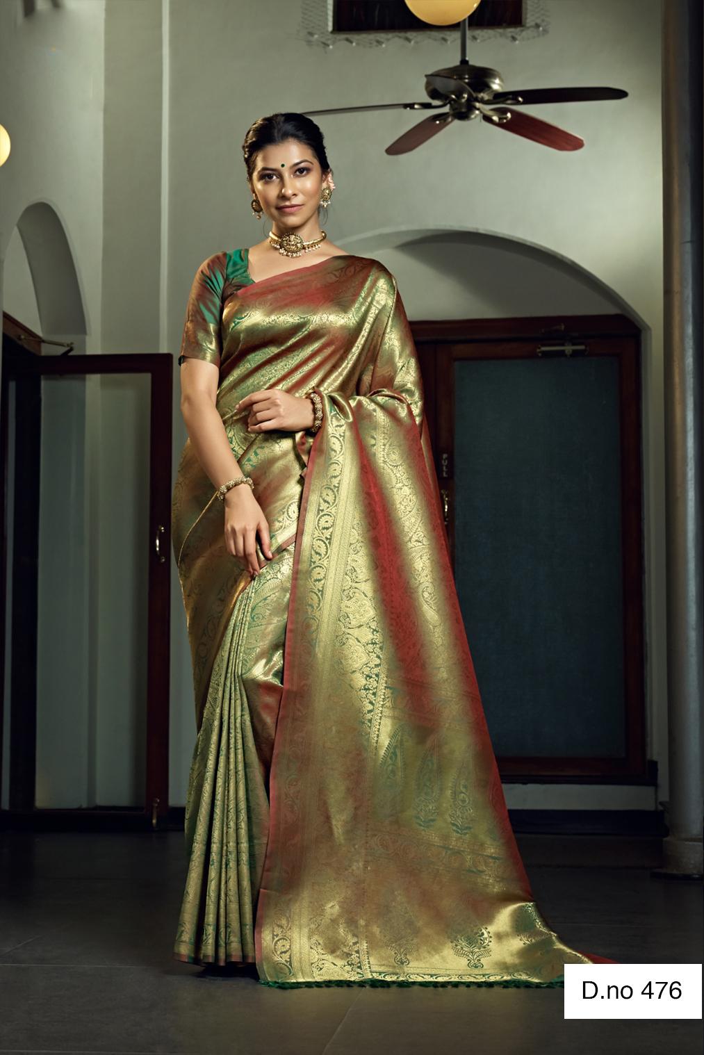 POONAM TEXTILE | Traditional Green Woven Design Raw Silk Saree