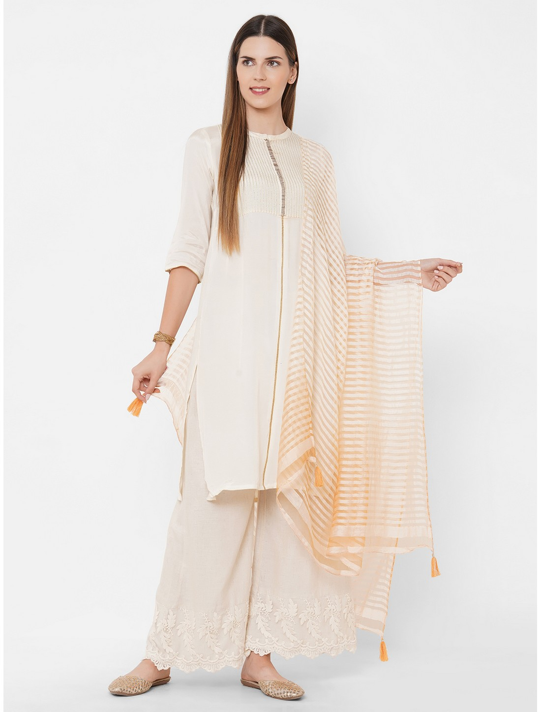 Get Wrapped | Get Wrapped Textured Shaded Orange Dupatta with Tassels