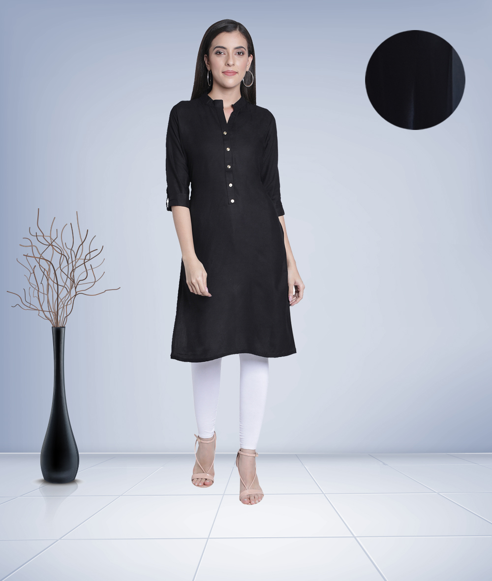 Fabclub | Fabclub Women's Rayon Solid Plain Straight Kurti (Black)