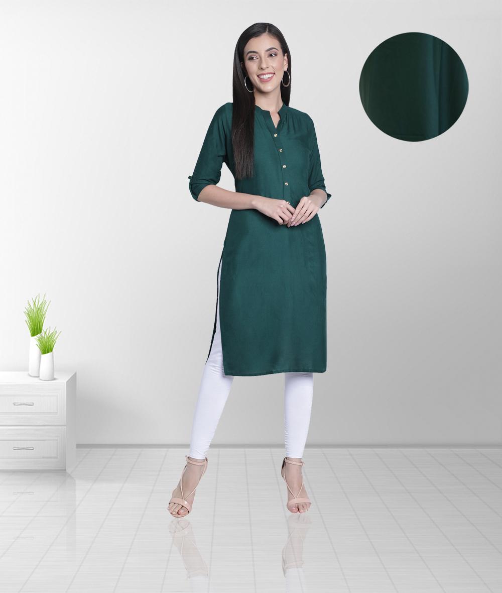 Fabclub | Fabclub Women's Rayon Solid Plain Straight Kurti (Dark Green)