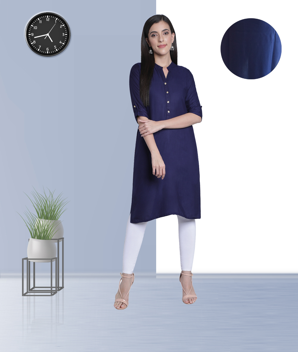 Fabclub | Fabclub Women's Rayon Solid Plain Straight Kurti (Navy Blue)