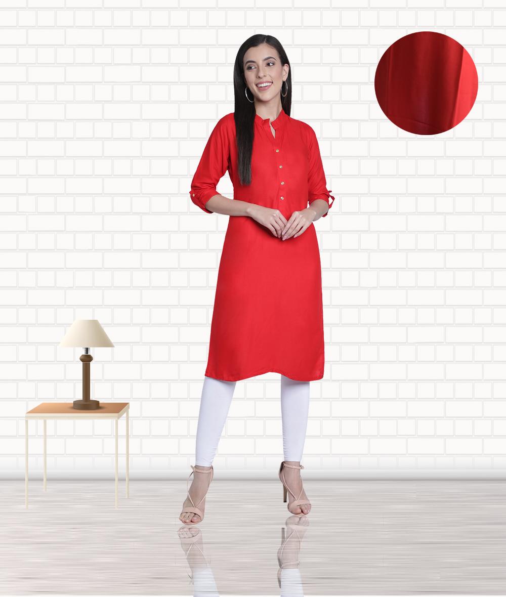 Fabclub | Fabclub Women's Rayon Solid Plain Straight Kurti (Red)