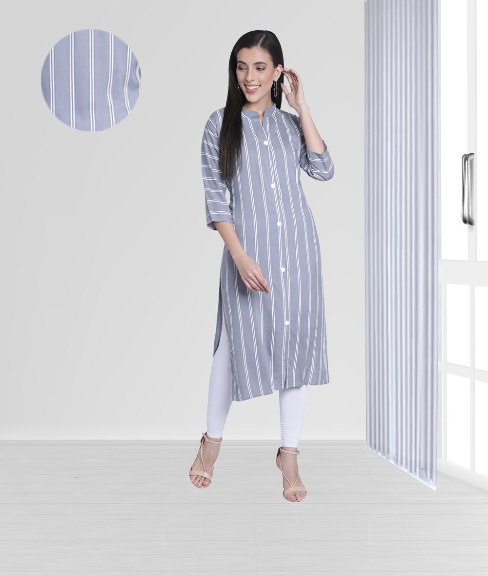 Fabclub | Fabclub Women Rayon Striped Straight Kurti (Gray)