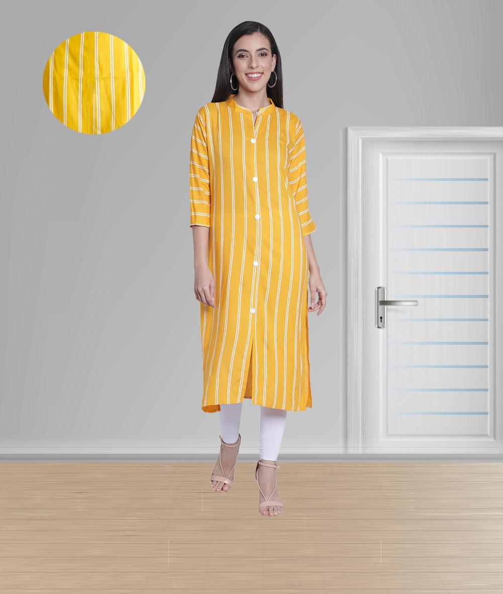 Fabclub | Fabclub Women Rayon Striped Straight Kurti (Mustard Yellow)