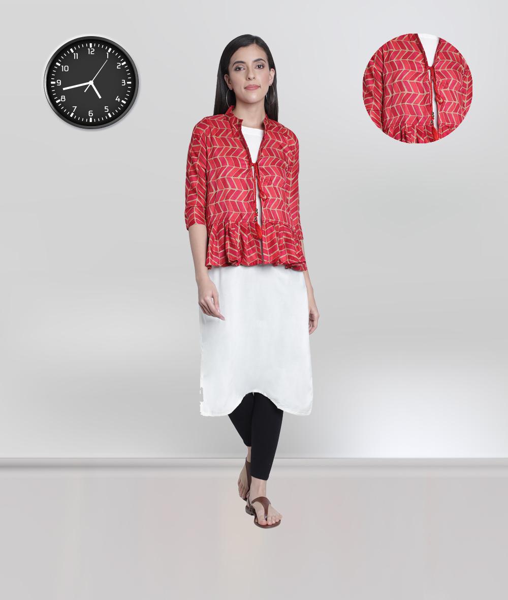 Fabclub | Fabclub Women Kurti With Multi Color Pleated Designer Jacket
