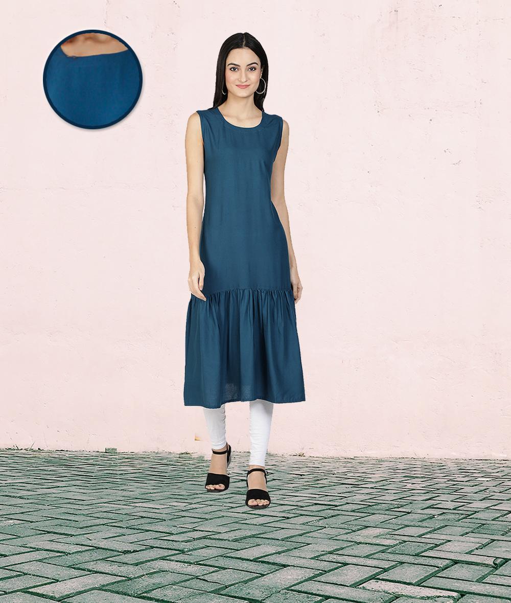 Fabclub | Fabclub Rayon Solid Plain Pleated Women Kurta Dress (Teal Blue)