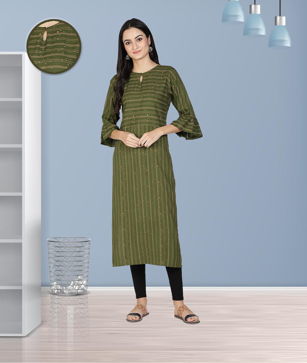Fabclub | Fabclub Women Heavy Rayon A-Line Striped Kurti (Olive Green)
