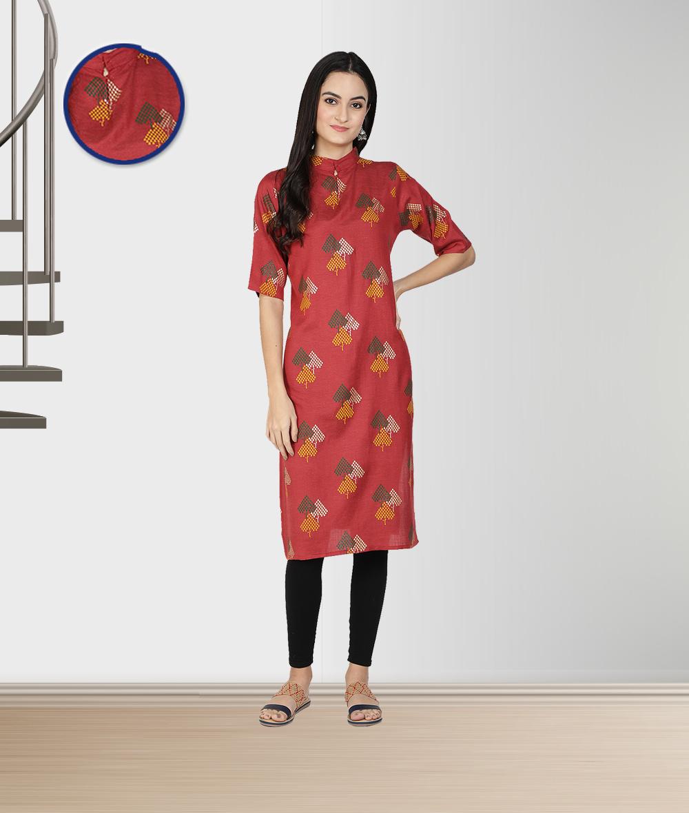 Fabclub | Fabclub Women Rayon Linen Foil Print Stright Designer Kurti (Maroon)