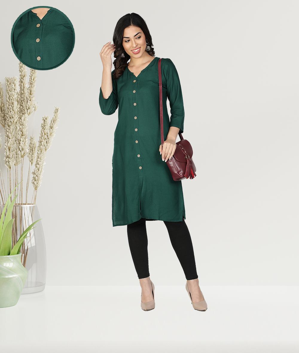Fabclub | Fabclub Women Rayon Solid Plain Front Slit Straight Kurti (Dark Green)