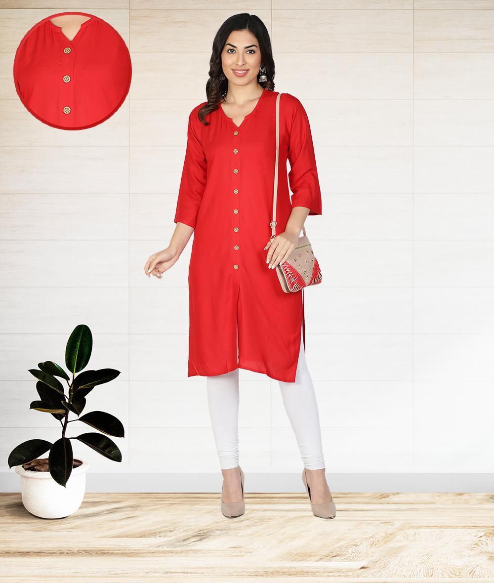 Fabclub | Fabclub Women Rayon Solid Plain Front Slit Straight Kurti (Red)