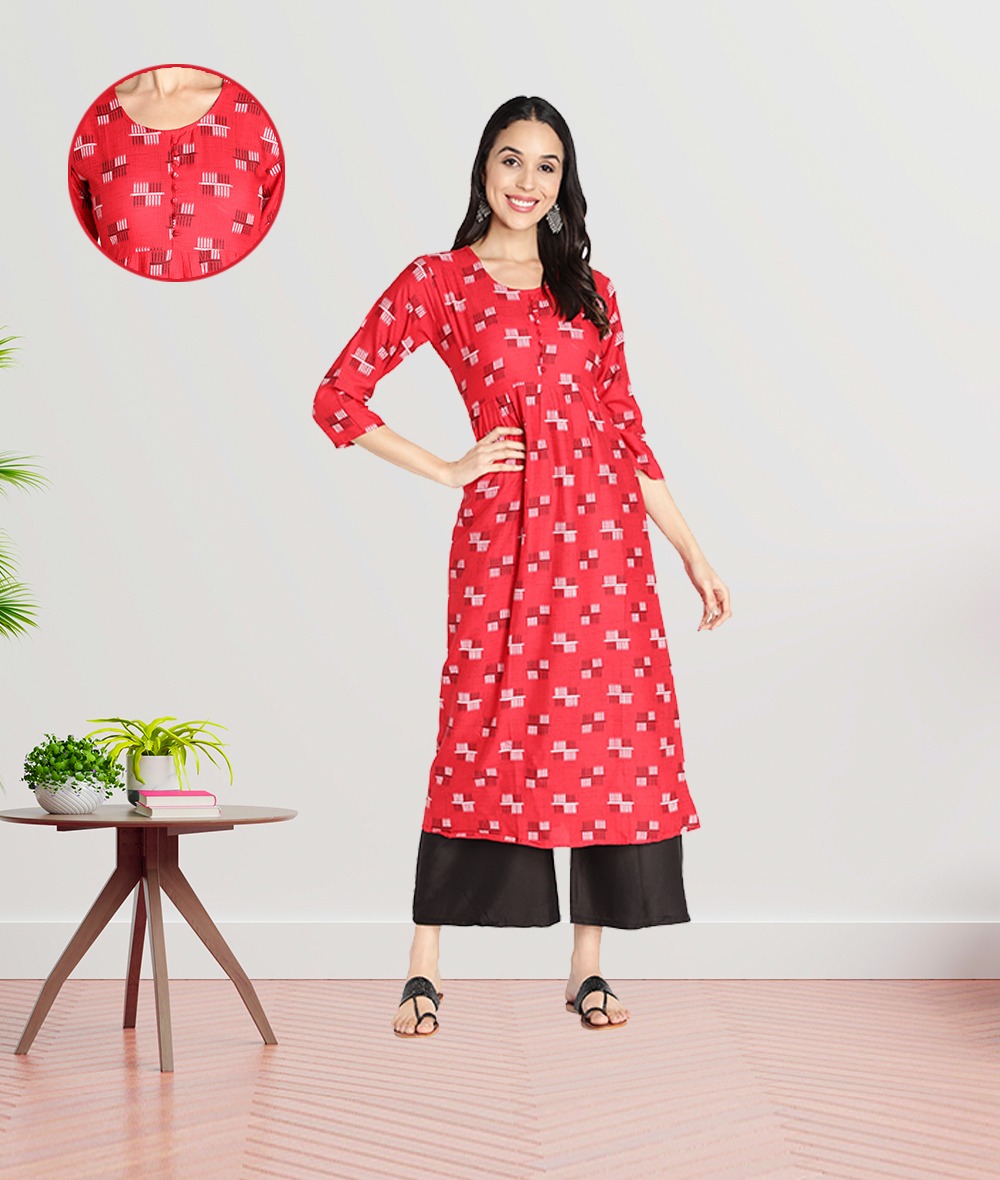 Fabclub | Fabclub Women Rayon Printed Flared Kurti (Red)