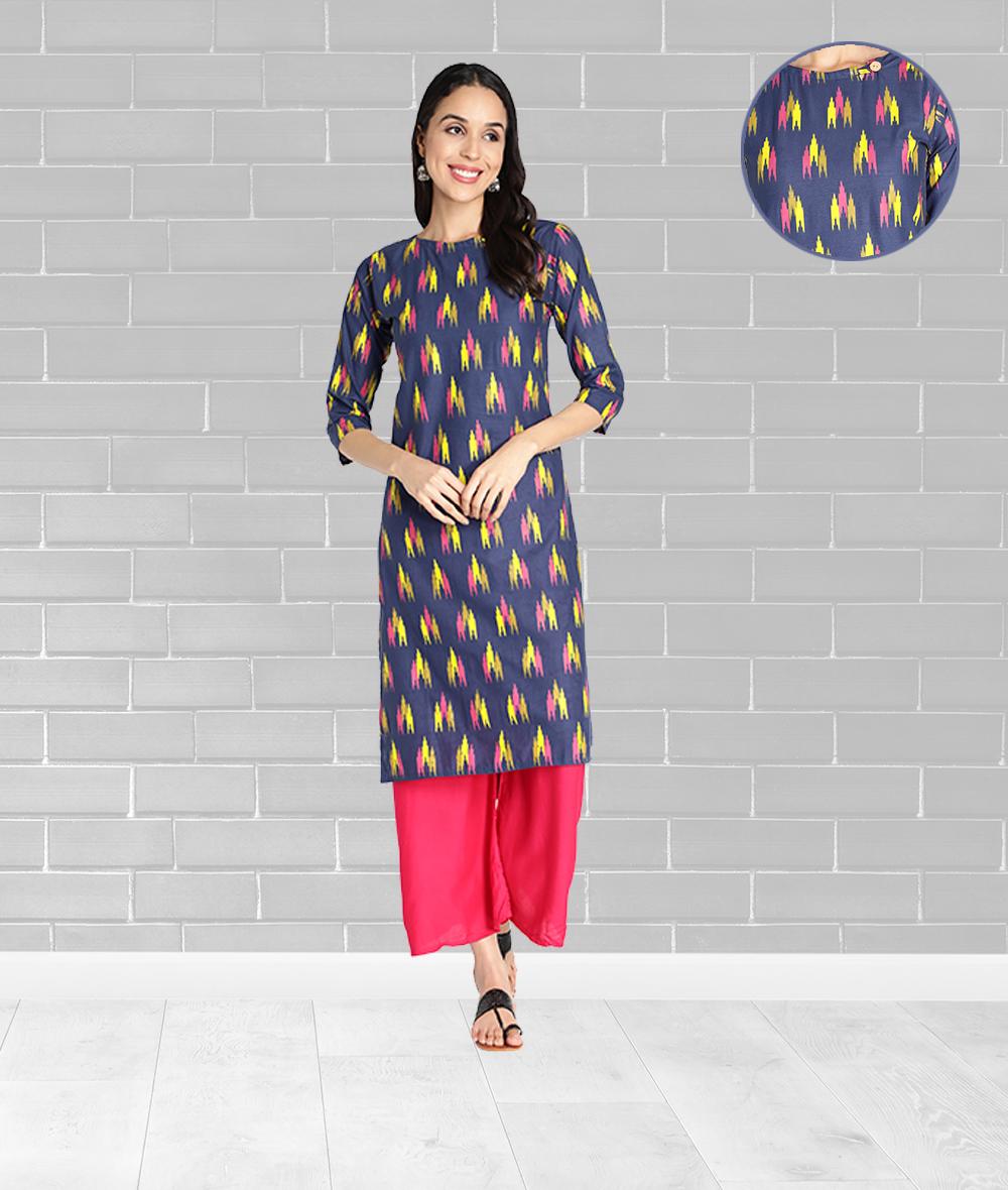 Fabclub | Fabclub Pure Cotton Ikat Printed Straight Women Kurti (Blue)