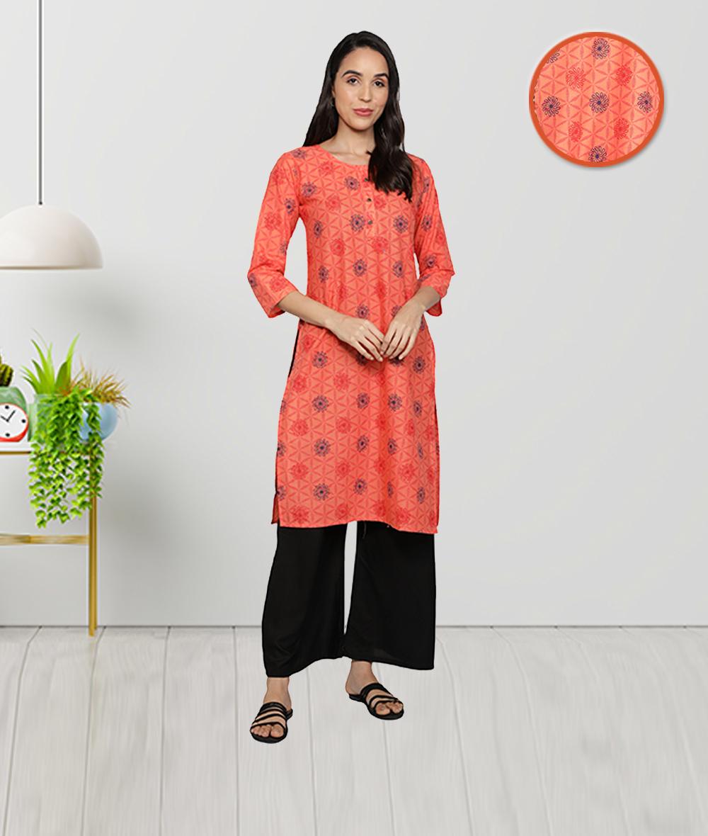Fabclub | Fabclub Pure Cotton Printed Straight Women Kurti (Orange)