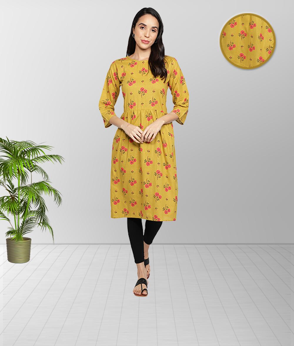 Fabclub | Fabclub Cotton Floral Printed Flared Women Kurti (Yellow)