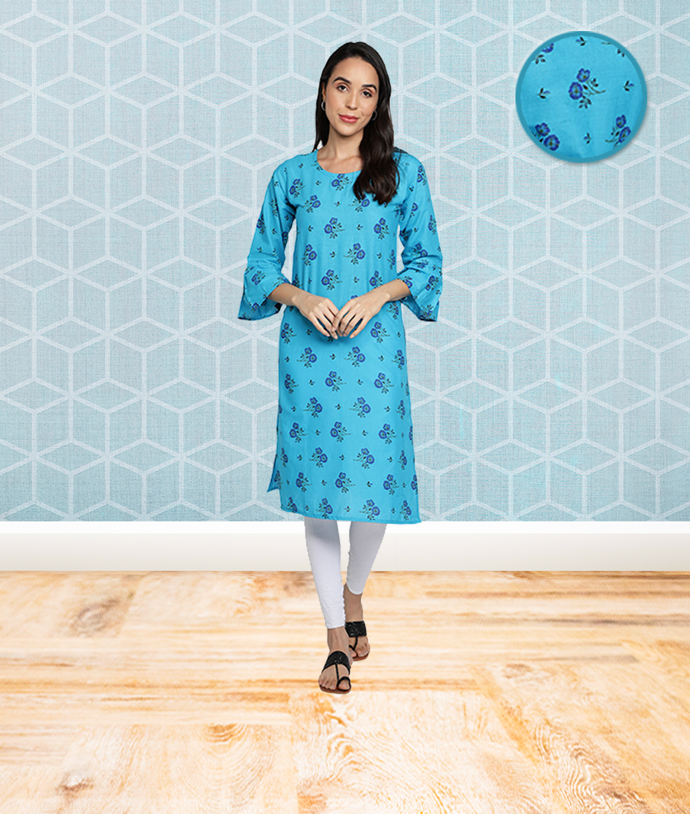 Fabclub | Fabclub Cotton Floral Printed Straight Women Kurti (Light Blue)