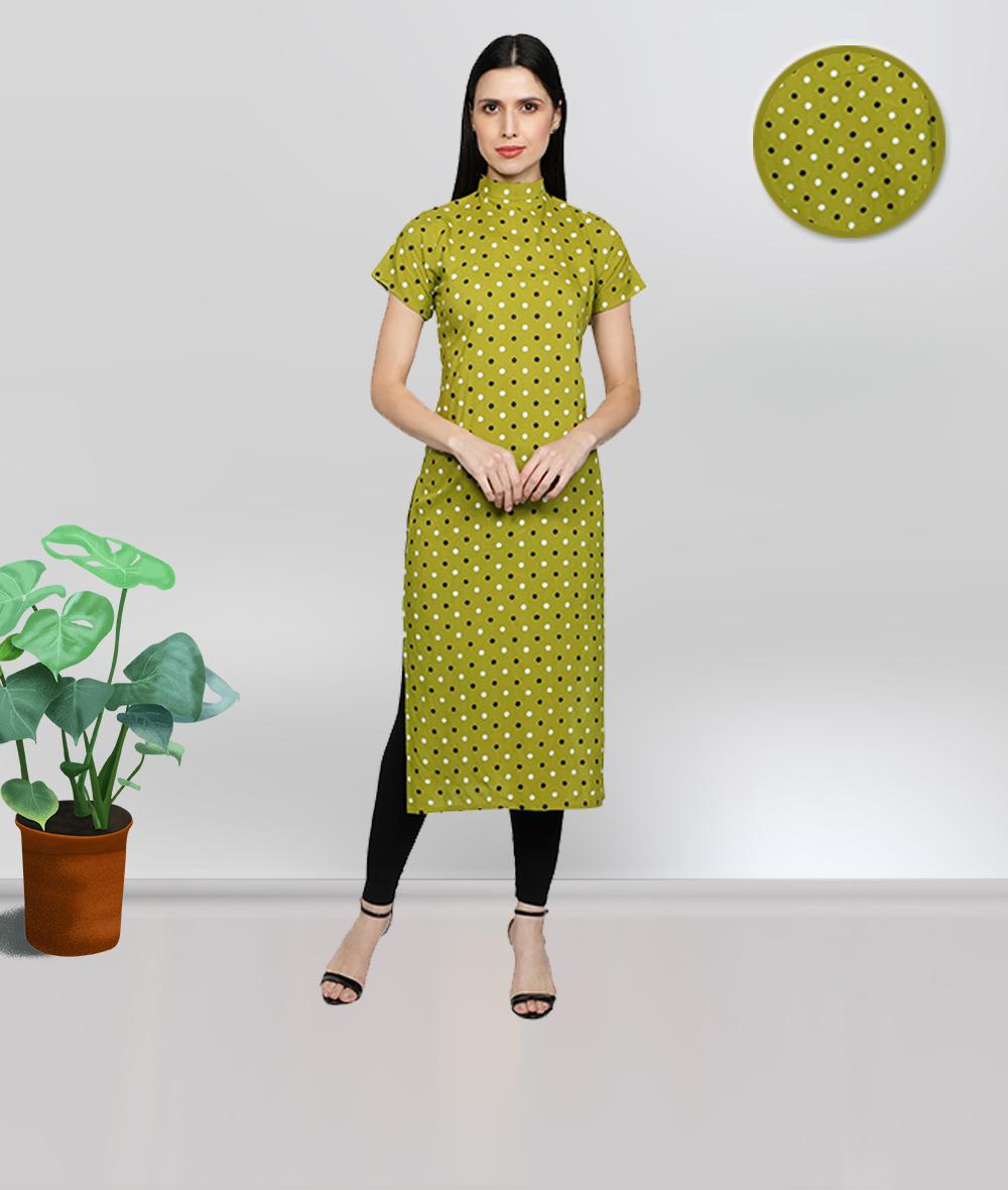Fabclub | Fabclub Rayon Polka Dots Printed Straight Women Kurti (Lime Green)